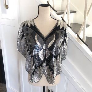 Tops - 100% silk and sequins butterfly cropped top